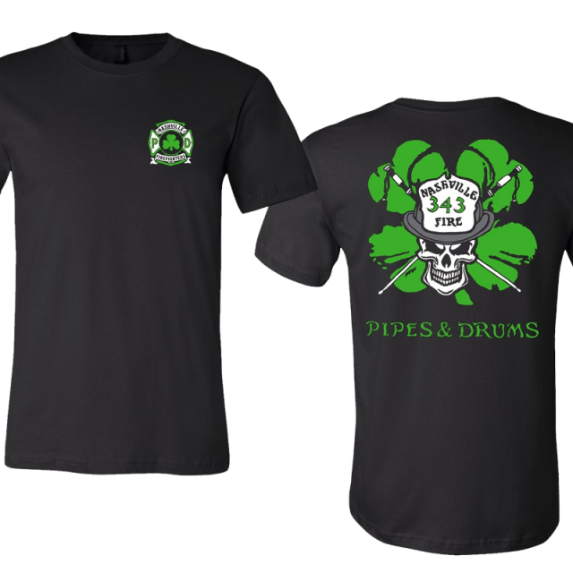 Nashville Firefighters Pipes and Drums Shamrock Black Tee