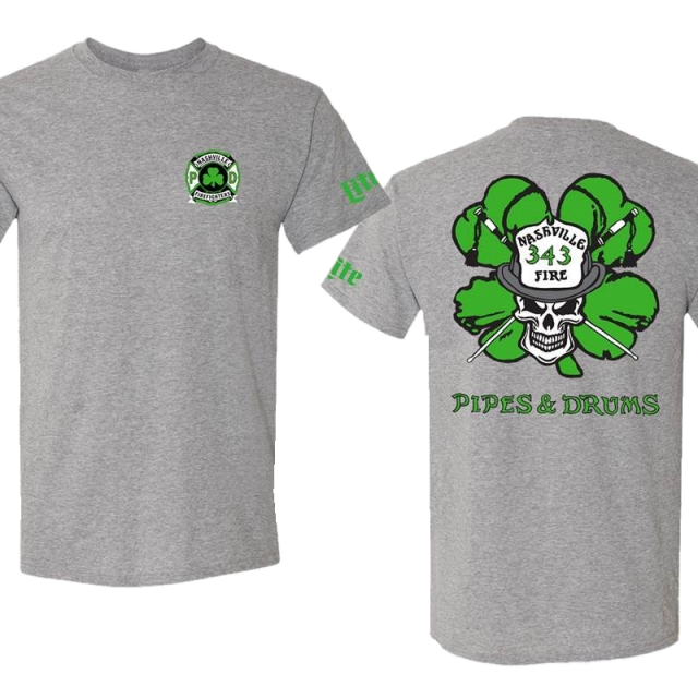 Nashville Firefighters Pipes and Drums Shamrock Oxford Tee